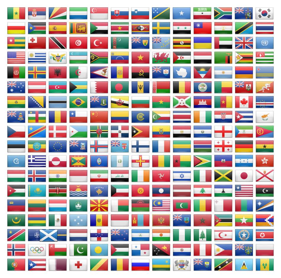 иконки флагов 232 стран