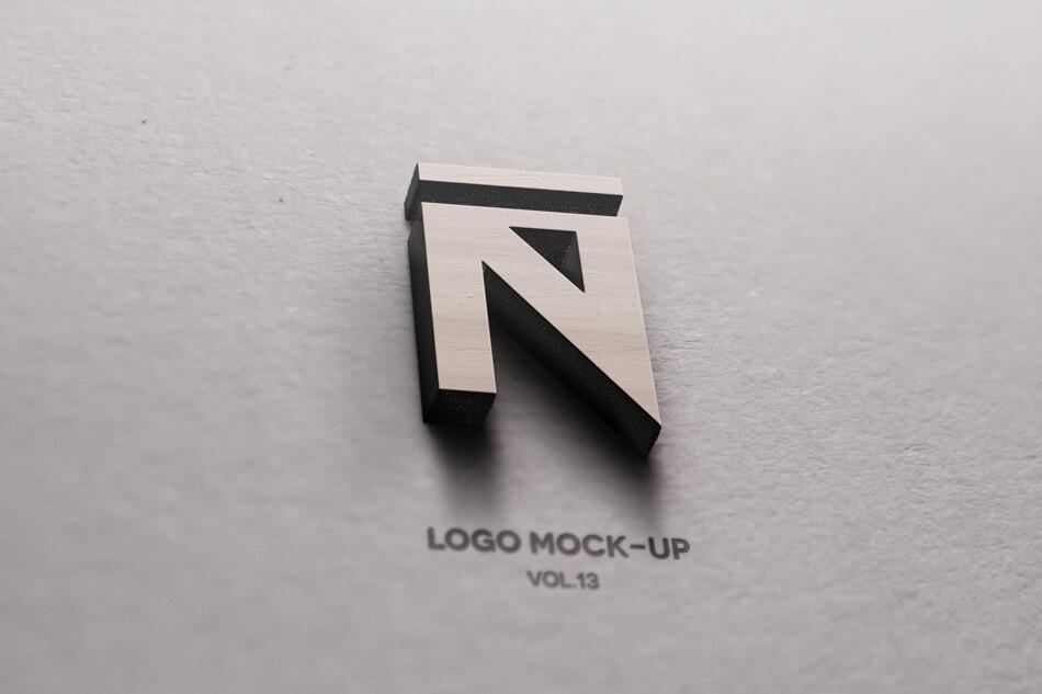 3D Wood Logo Mockup