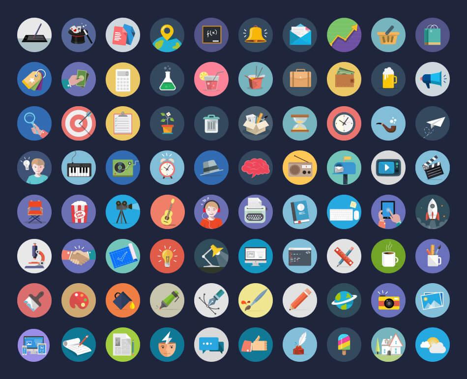 80 Fresh Flat Icons