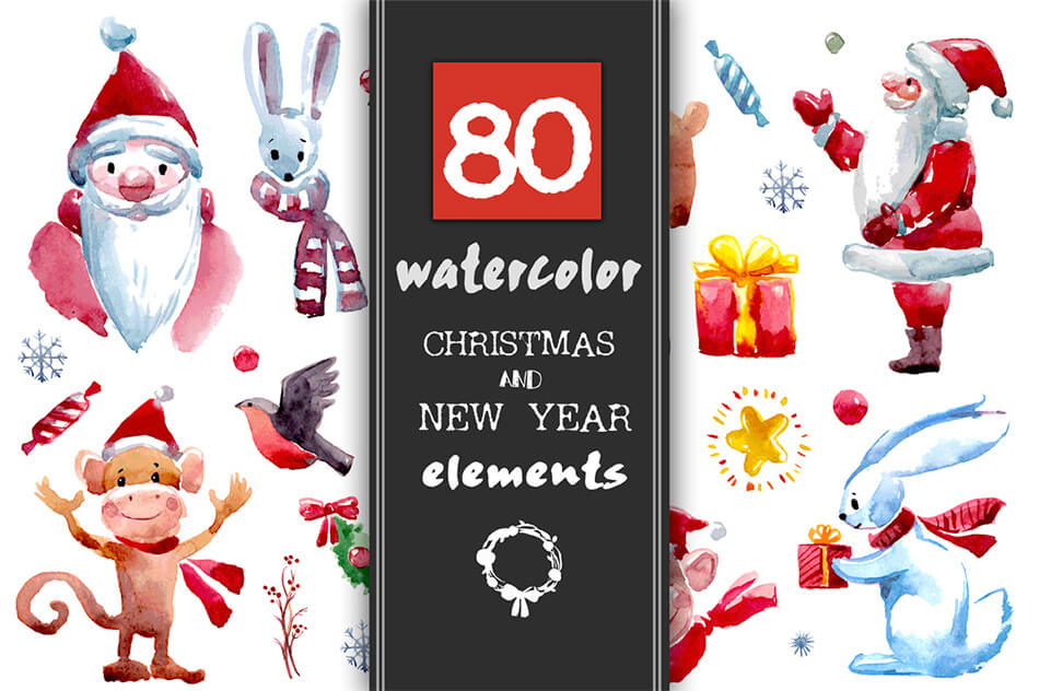 80 Christmas And New Year Elements