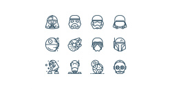 Star Wars Outline Vector Icons