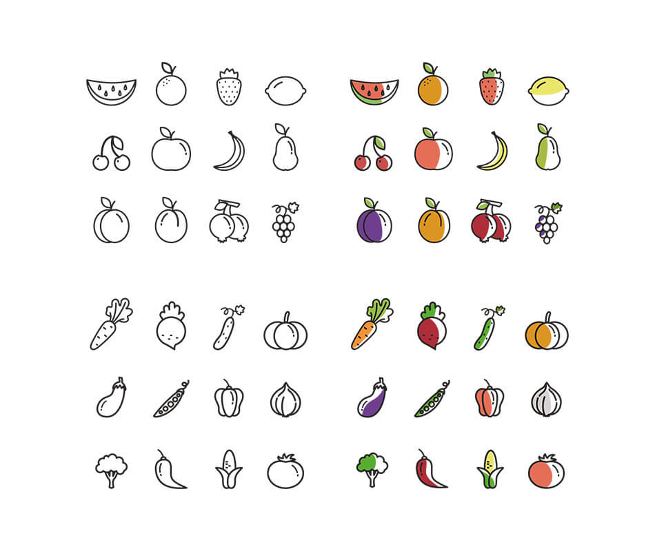 Set Of 48 Fruit & Vegetables Icons
