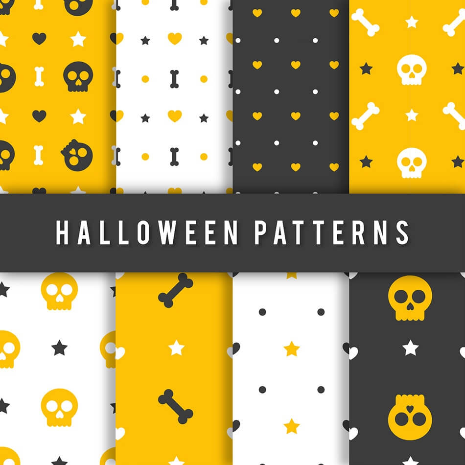 Halloween Patterns In Yellow, Black & White Colors