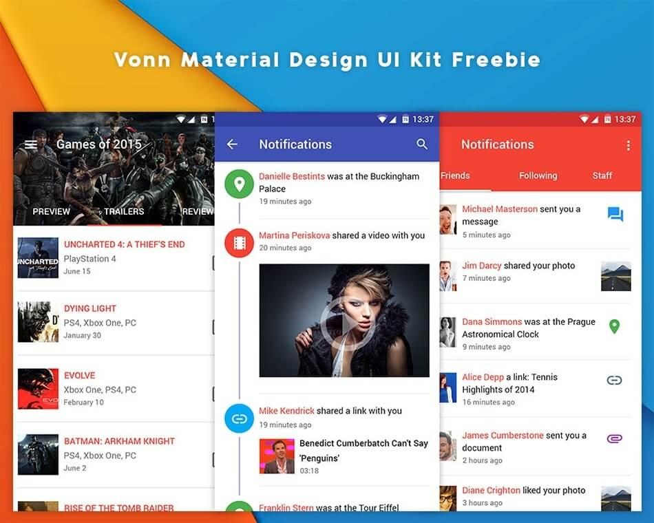 Vonn Material Design UI Kit