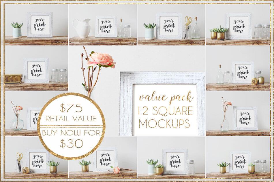 Value Pack Bundle: 12 Square Mockups