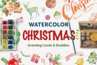 Watercolor Christmas Print & Doodles