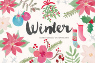Winter Holiday Watercolor Clip Art