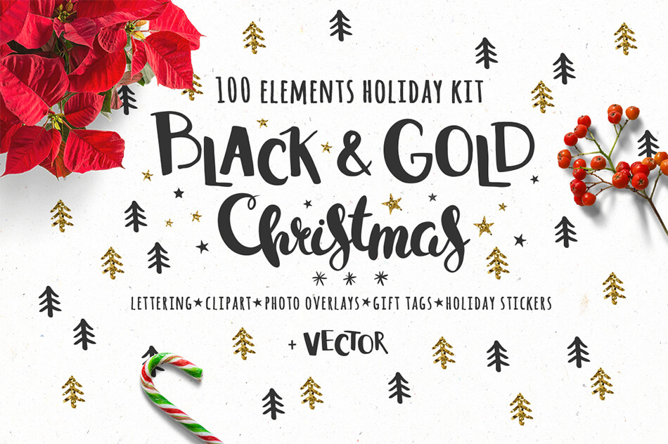 Black & Gold Christmas Design Kit