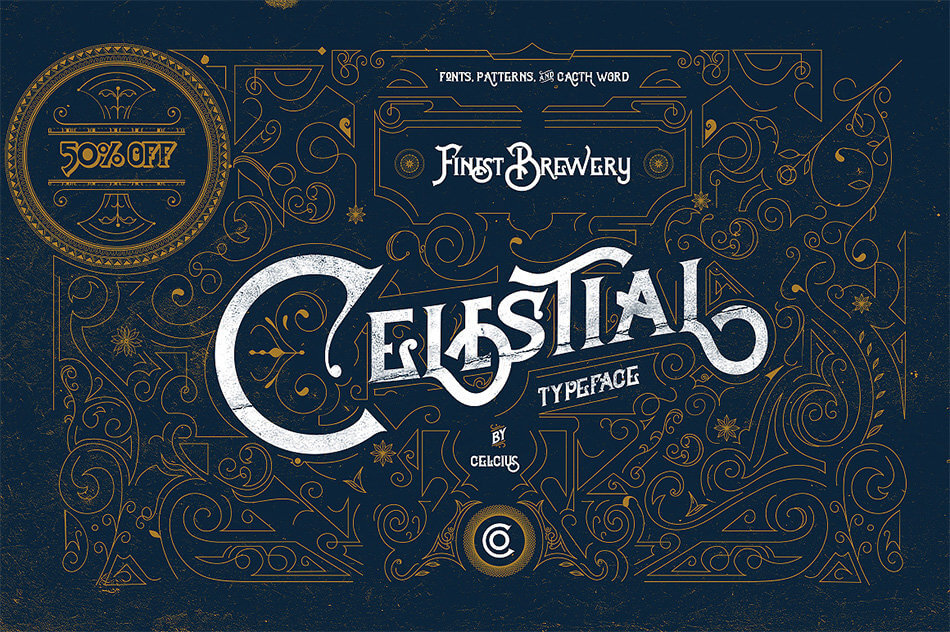 Celestial Fonts & Vintage Pattern