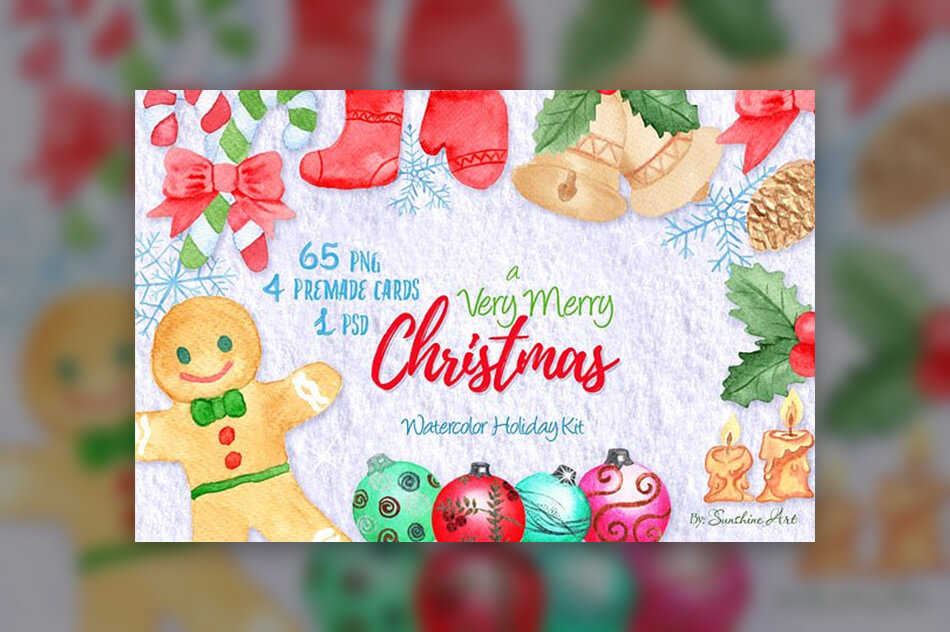 Very Merry Christmas Watercolor Kit
