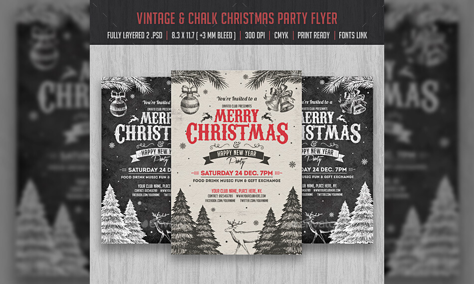 Vintage & Chalk Christmas Party Flyer