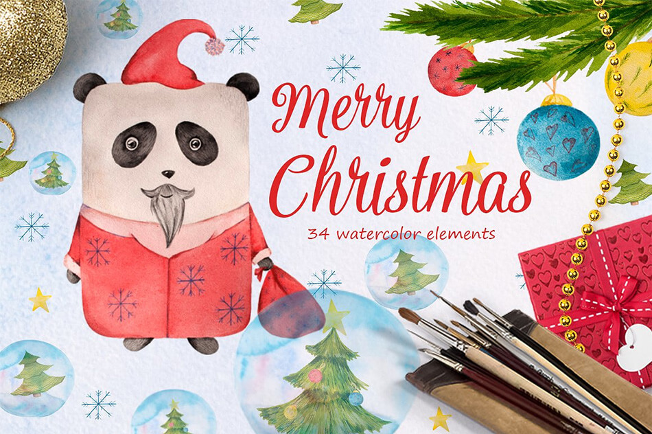 Watercolor Christmas Panda