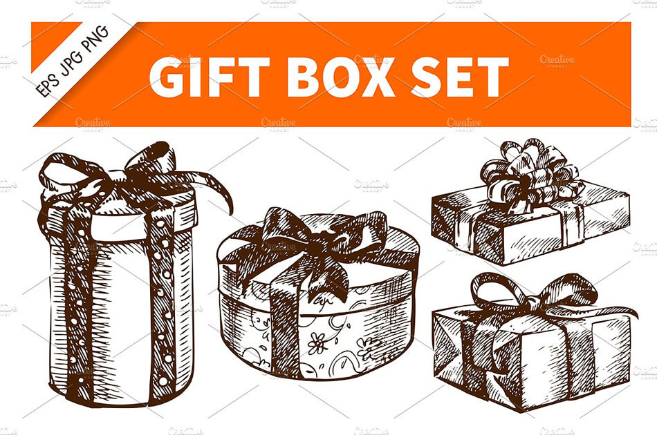 Gift Box Hand Drawn Vintage Set