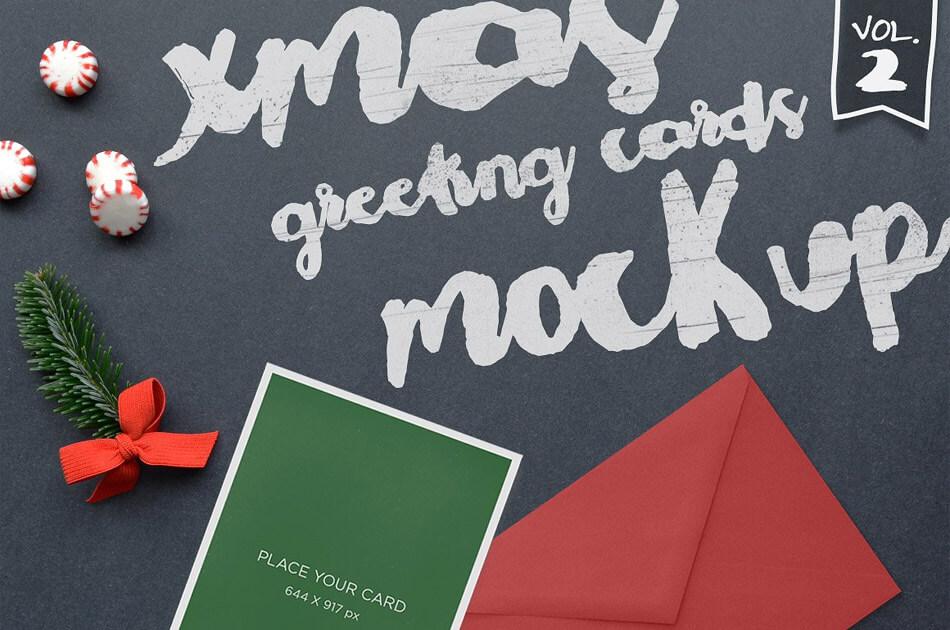 Xmas Greeting Cards Mockup Vol. 2