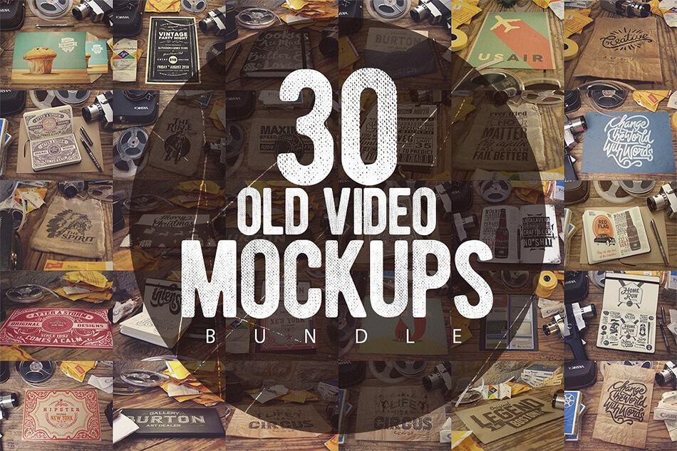 30 Old Video Mockups Bundle