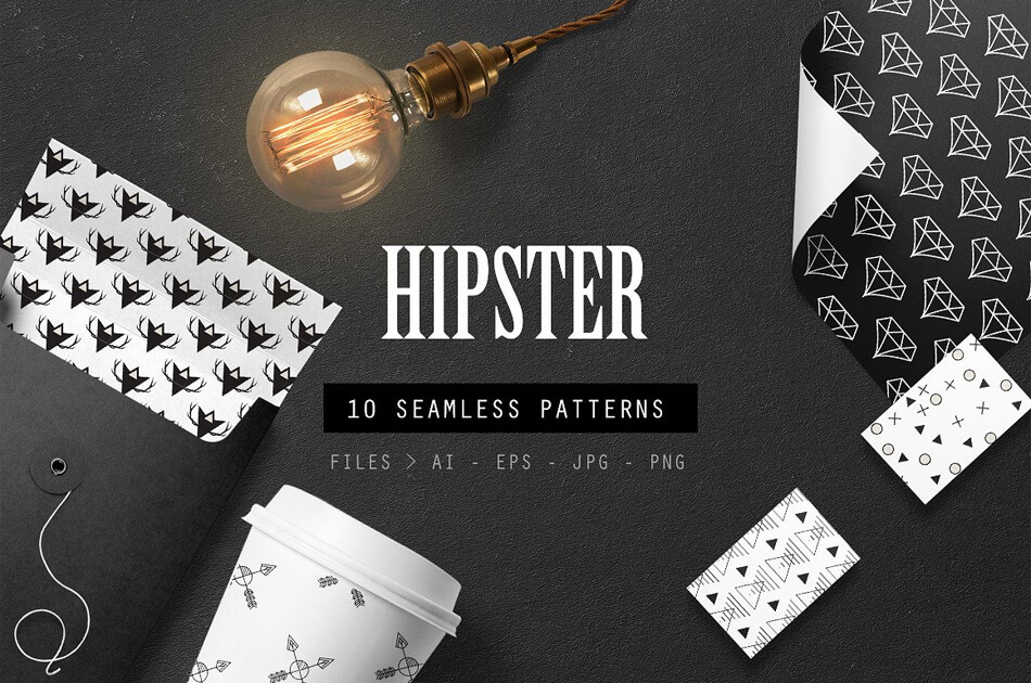 Hipster Seamless Patterns Set of 10