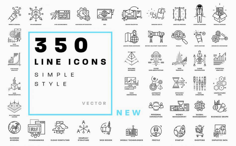 350-line-business-icons-collection